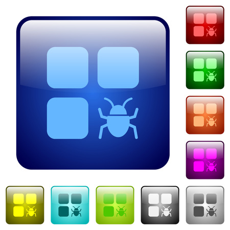 intercommunication: Component bug icons in rounded square color glossy button set Illustration