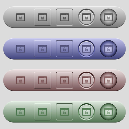 unprotected: Unlock application icons on rounded horizontal menu bars in different colors and button styles