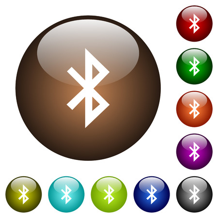 ラウンド カラー ガラス ボタンの白い Bluetooth アイコン  イラスト・ベクター素材