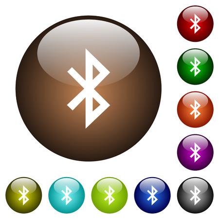Bluetooth-witte pictogrammen op ronde glasknoppen Stock Illustratie