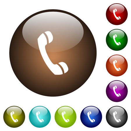 shiny buttons: Telephone call white icons on round color glass buttons Illustration