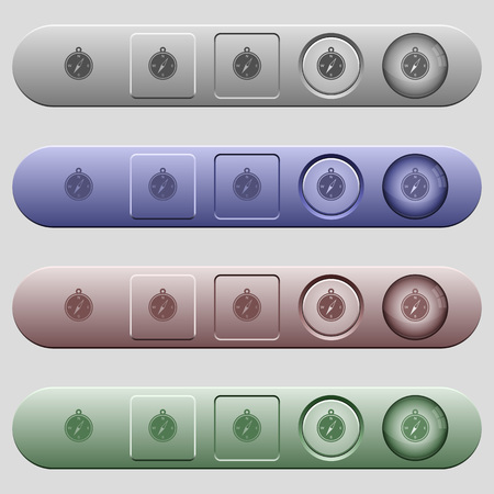 Compass icons on rounded horizontal menu bars in different colors and button styles