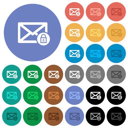 ロック メール複数の色の円形の背景にフラット アイコン。ホバーとアクティブなステータス効果と黒背景にボーナス色合いの白、光と闇のアイコン  イラスト・ベクター素材