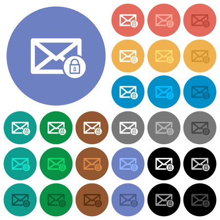 Lock mail multi colored flat icons on round backgrounds. Included white, light and dark icon variations for hover and active status effects, and bonus shades on black backgounds.