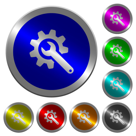 Wrench with cogwheel icons on round luminous coin-like color steel buttons Illustration