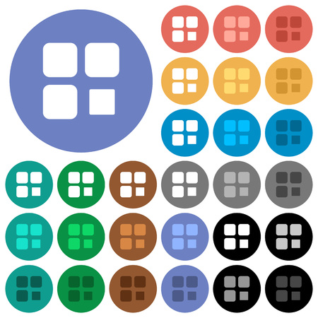 Component stop multi colored flat icons on round backgrounds. Included white, light and dark icon variations for hover and active status effects, and bonus shades on black backgounds.