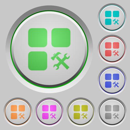 Component tools color icons on sunk push buttons Illusztráció