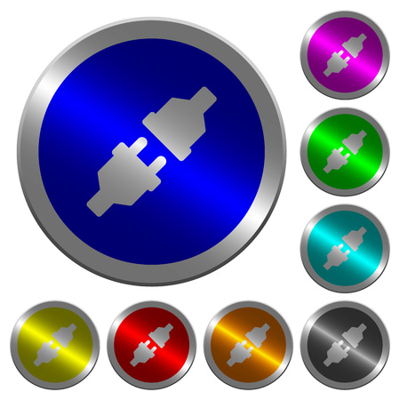conducting: Unplugged power connectors icons on round luminous coin-like color steel buttons