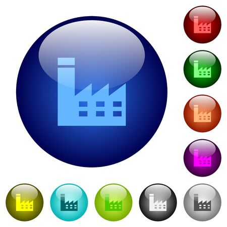 Factory building icons on round color glass buttons Illustration