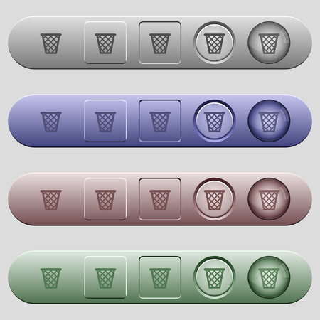 Trash icons on rounded horizontal menu bars in different colors and button styles