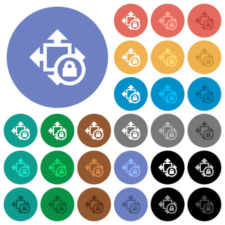 Size lock multi colored flat icons on round backgrounds. Included white, light and dark icon variations for hover and active status effects, and bonus shades on black backgounds. Illustration