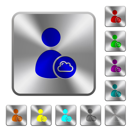 permissions: Cloud user account management engraved icons on rounded square glossy steel buttons