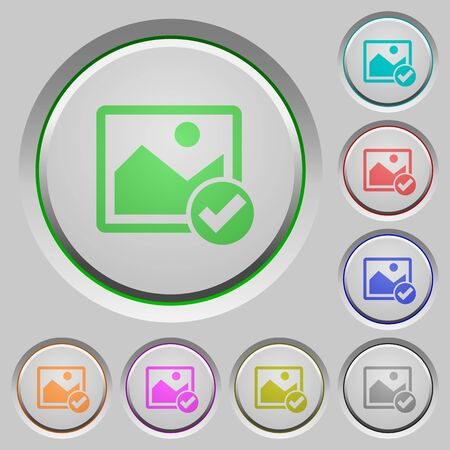 photo album: Image ok color icons on sunk push buttons Illustration