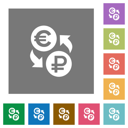 rectangle button: Euro Ruble money exchange flat icons on simple color square backgrounds