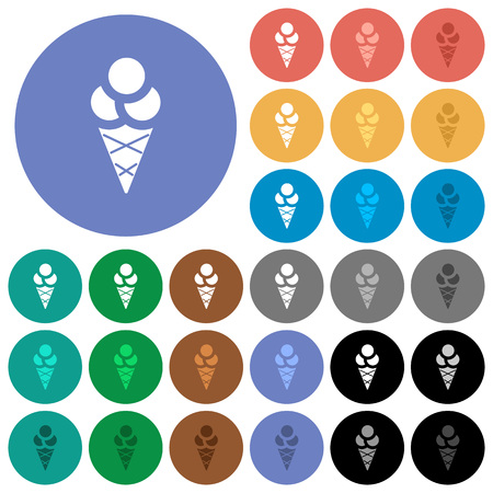Ice cream multi colored flat icons on round backgrounds. Included white, light and dark icon variations for hover and active status effects, and bonus shades on black backgounds.