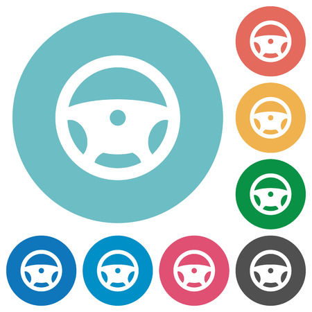 Steering wheel flat white icons on round color backgrounds Illustration