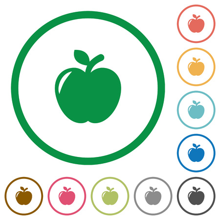 Apple flat color icons in round outlines on white background