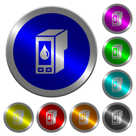 Ink cartridge icons on round luminous coin-like color steel buttons 向量圖像
