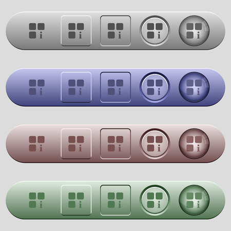 piece: Component information icons on rounded horizontal menu bars in different colors and button styles Illustration