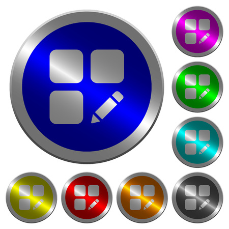 alter: Rename component icons on round luminous coin-like color steel buttons Illustration