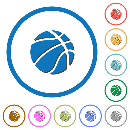 dexterity: Basketball flat color vector icons with shadows in round outlines on white background