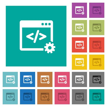 Web development multi colored flat icons on plain square backgrounds. Included white and darker icon variations for hover or active effects. Illustration