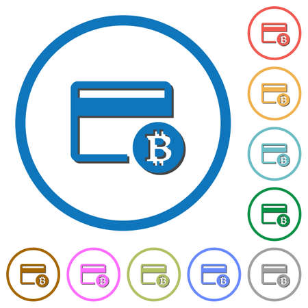 bankcard: Bitcoin credit card flat color vector icons with shadows in round outlines on white background Illustration