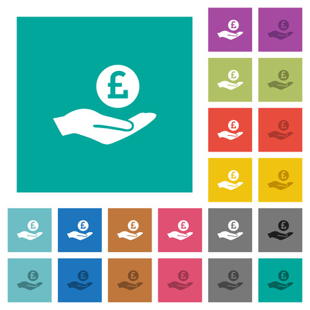 Pound earnings multi colored flat icons on plain square backgrounds. Included white and darker icon variations for hover or active effects. Illustration
