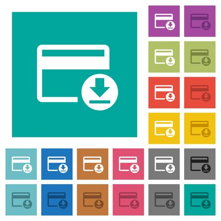 get in shape: Money withdrawal with credit card multi colored flat icons on plain square backgrounds. Included white and darker icon variations for hover or active effects.