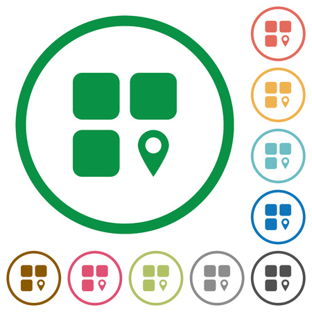 piece: Component location flat color icons in round outlines on white background