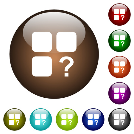intercommunication: Unknown component white icons on round color glass buttons Illustration