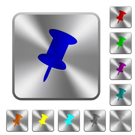 Geïmporteerd pictogrammen op ronde vierkante glanzende stalen knoppen