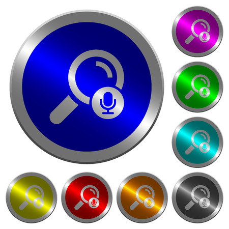 Voice search icons on round luminous coin-like color steel buttons