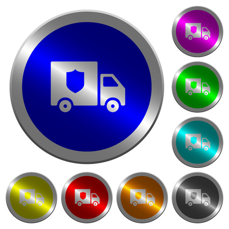 Money deliverer truck icons on round luminous coin-like color steel buttons