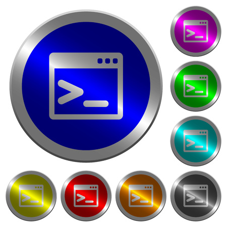 shiny buttons: Command prompt icons on round luminous coin-like color steel buttons Illustration