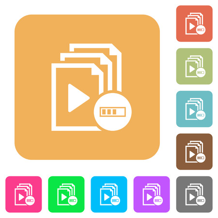 Processing playlist flat icons on rounded square vivid color backgrounds.