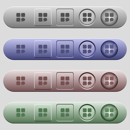 intercommunication: Message component icons on rounded horizontal menu bars in different colors and button styles