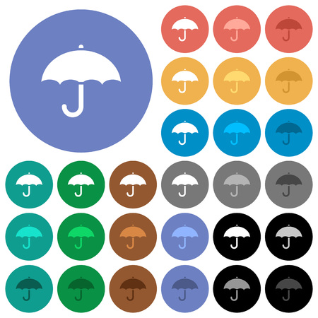 Umbrella multi colored flat icons on round backgrounds. Included white, light and dark icon variations for hover and active status effects, and bonus shades on black backgounds.