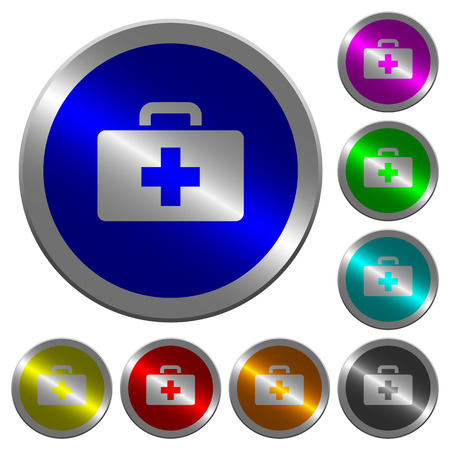shiny buttons: First aid kit icons on round luminous coin-like color steel buttons