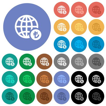 polychrome: Online Lira payment multi colored flat icons on round backgrounds. Included white, light and dark icon variations for hover and active status effects, and bonus shades on black backgounds. Illustration