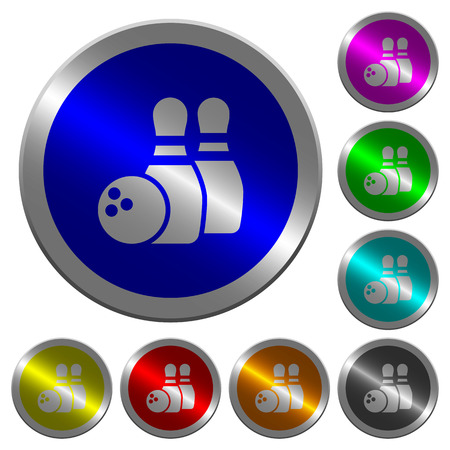 Bowling icons on round luminous coin-like color steel buttons