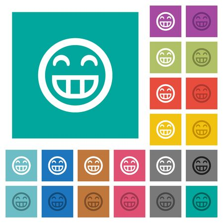 smiley: Laughing emoticon multi colored flat icons on plain square backgrounds. Included white and darker icon variations for hover or active effects.