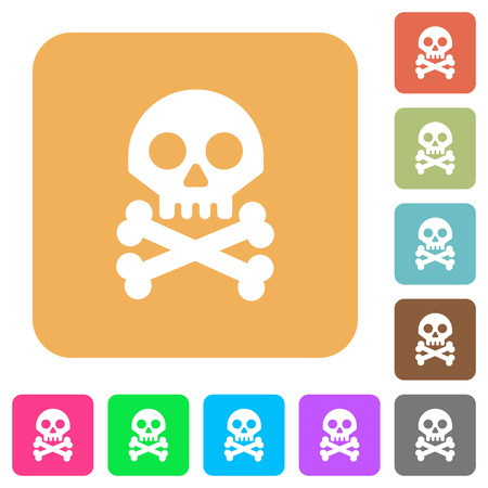 Skull with bones flat icons on rounded square vivid color backgrounds. Ilustracja