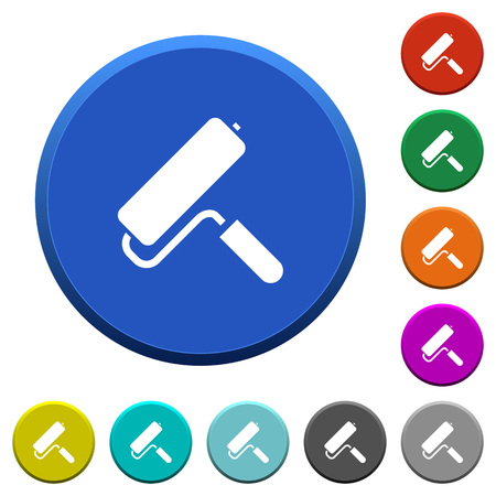 Paint roller round color beveled buttons with smooth surfaces and flat white icons