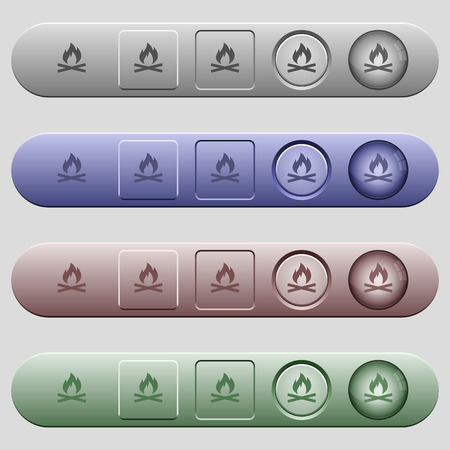 Camp fire icons on rounded horizontal menu bars in different colors and button styles