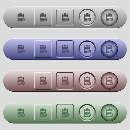 Note unlock icons on rounded horizontal menu bars in different colors and button styles