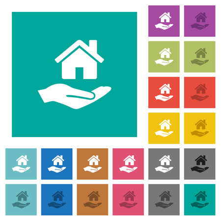 Home insurance multi colored flat icons on plain square backgrounds. Included white and darker icon variations for hover or active effects. Illustration