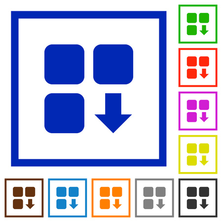 piece: Move down component flat color icons in square frames on white background