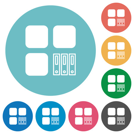Archive component flat white icons on round color backgrounds