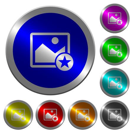 라운드 빛나는 동전 모양의 강철 단추에 이미지 아이콘 아이콘을 표시하십시오.